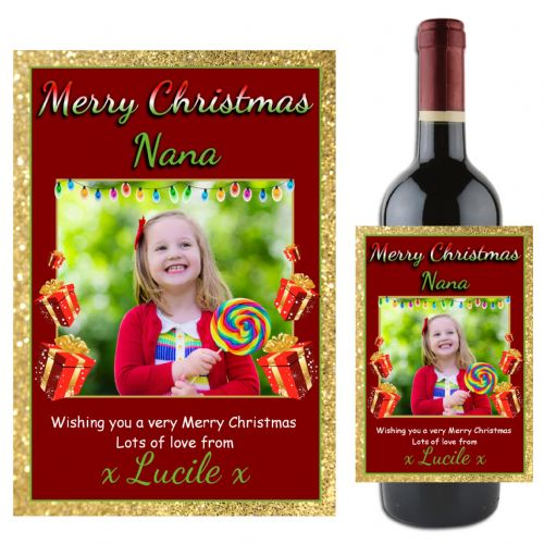 Personalised Christmas Wine / Champagne Bottle PHOTO Label N78